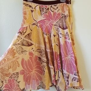 FEI Anthropologie Pink Floral Fit & Flare Skirt